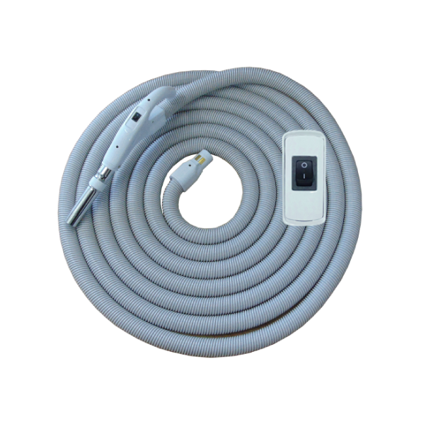 On/Off Hose with Swivel Cuff and Button Switch Handle White- 10.6 m